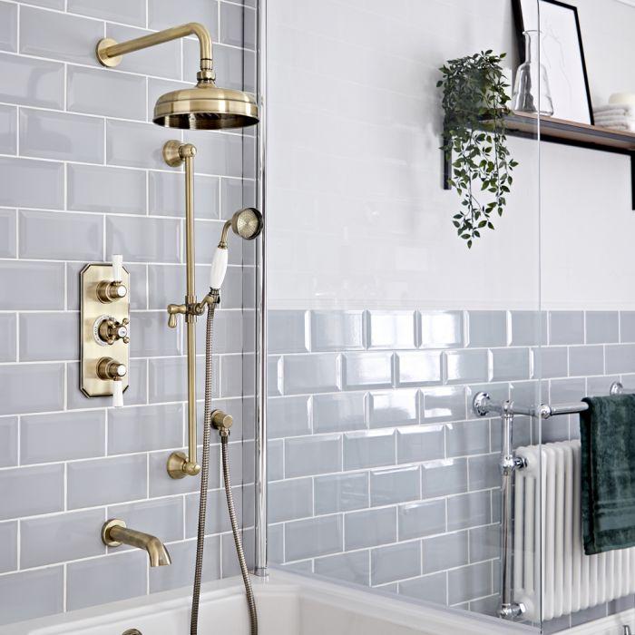 Retro UP Duschsystem mit Wanneneinlauf, Duschkopf, Thermostat und Brausegarnitur, Antikes Gold - Elizabeth