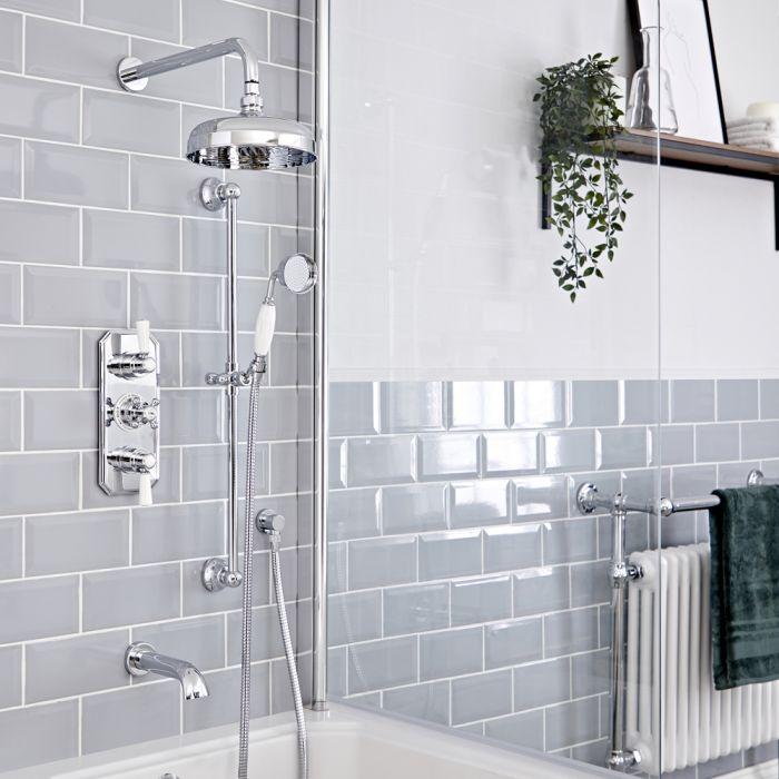 Retro Unterputz-Duschsystem mit Thermostat - inkl. 200mm Wand-Duschkopf, Brausestangenset und Wanneneinlauf - Chrom/Weiß - Elizabeth