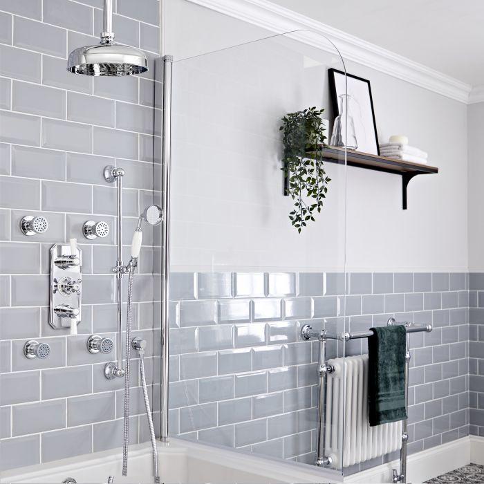 Retro UP Duschthermostat mit Decken-Duschkopf, Massagedüsen und Brausegarnitur, Chrom/Weiß - Elizabeth