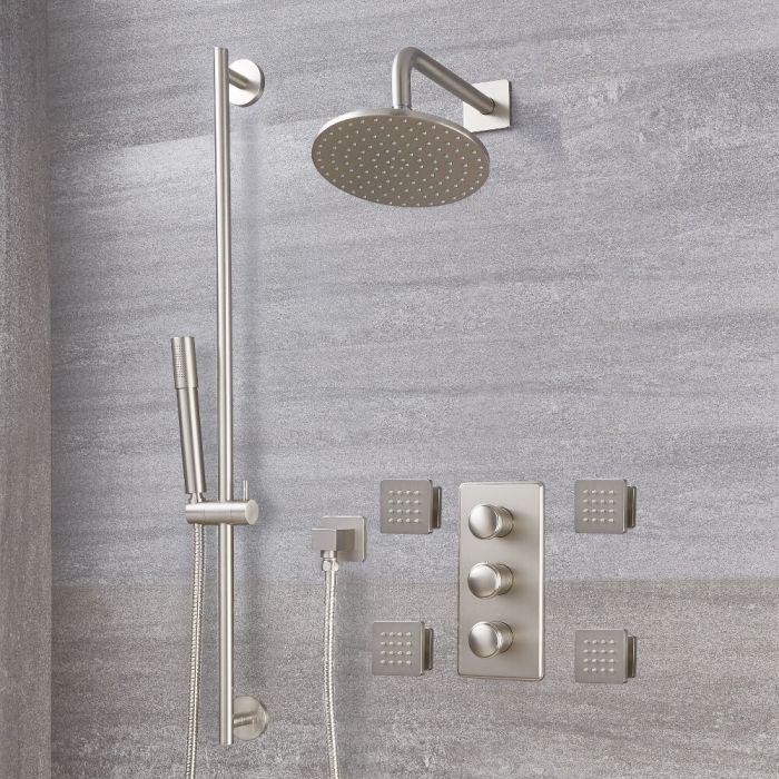 Unterputz-Duschsystem mit Thermostat – mit rundem 188mm Wand-Duschkopf, Brausestangenset und Körperdüsen - gebürstetes Nickel - Aldwick