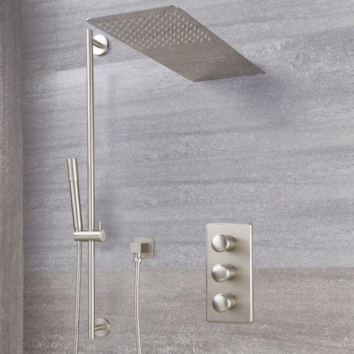 Aldwick Thermostatarmatur mit Wasserfall-Regen-Duschkopf und Duschstangenset - Gebürstetes Nickel