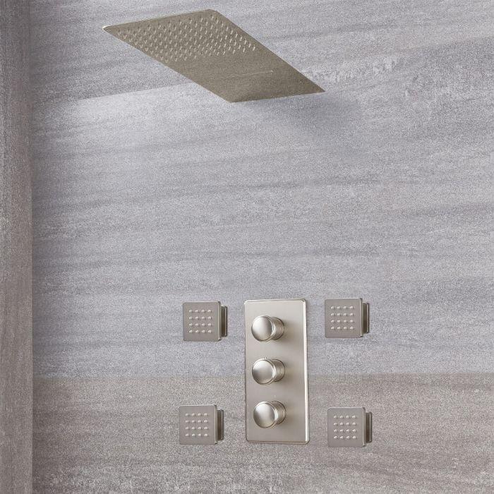 Aldwick Thermostatarmatur mit Wasserfall-Regen-Duschkopf und Körperdüsen - Gebürstetes Nickel