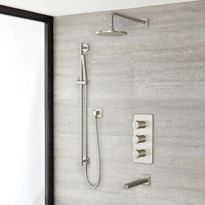 Unterputz-Duschsystem mit Thermostat – mit rundem 188mm Wand-Duschkopf, Brausestangenset und Wanneneinlauf - gebürstetes Nickel - Aldwick