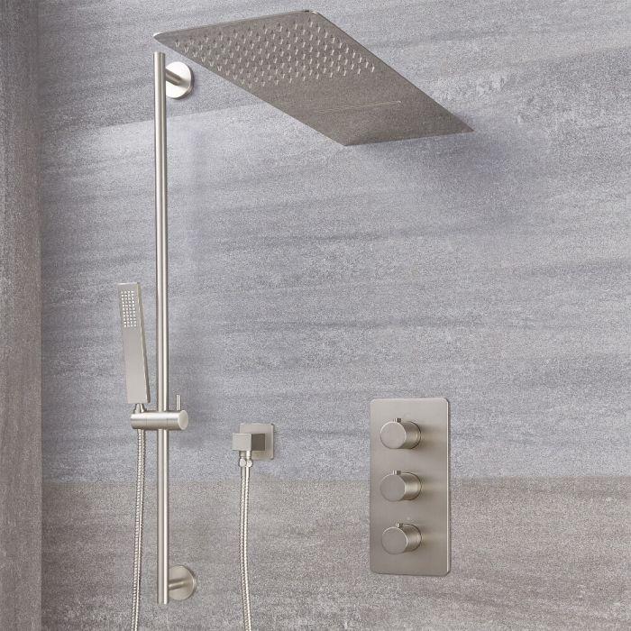 Harting Thermostatarmatur, Wasserfall-Regen-Duschkopf und Duschstangenset - Gebürstetes Nickel