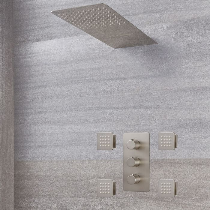 Harting Thermostatarmatur, Wasserfall-Regen-Duschkopf und Körperdüsen - Gebürstetes Nickel
