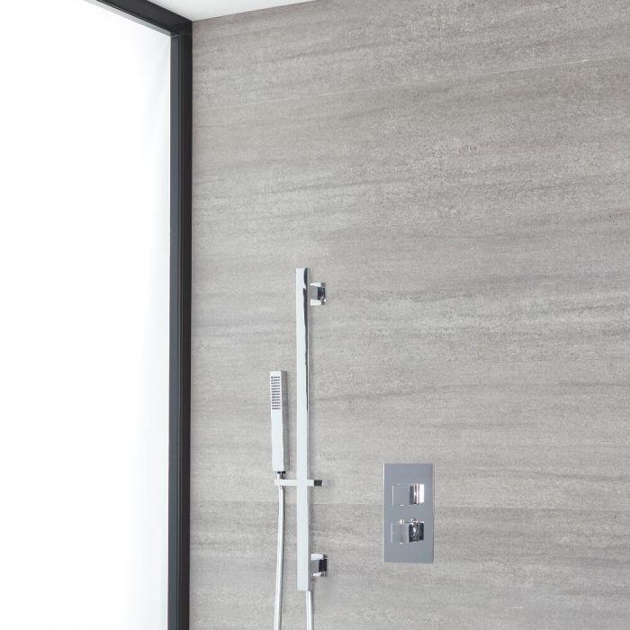 Eckiges Dusch-Thermostat mit Brausestangenset, Chrom - Kubix