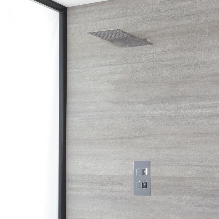 Eckiges Dusch-Thermostat mit flachem Wand-Duschkopf, Chrom - Kubix
