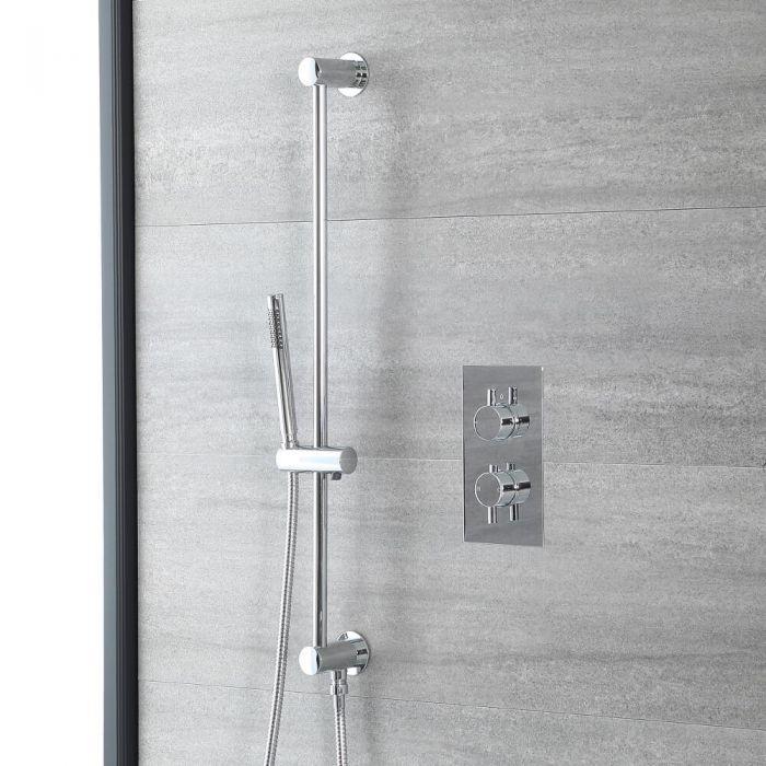 Rundes Dusch-Thermostat mit Brausestangenset, Chrom - Como