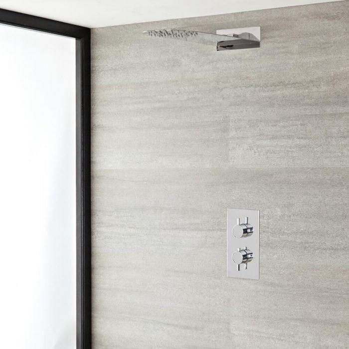 Rundes Dusch-Thermostat mit schlankem Duschkopf, Chrom - Como