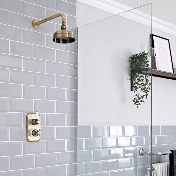 Retro Unterputz Duschsystem mit Thermostat und 155mm Wandmontage-Duschkopf, Antikes Gold - Elizabeth