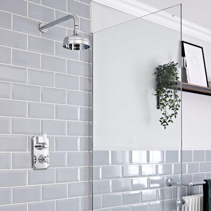 Retro Unterputz Duschsystem mit Thermostat und 155mm Wandmontage-Duschkopf, Chrom/Weiß - Elizabeth