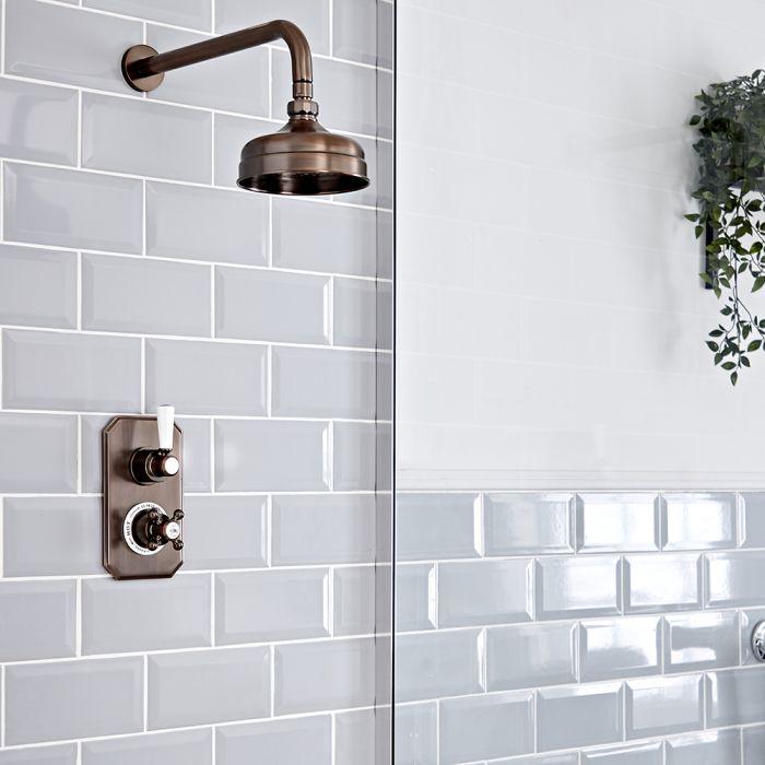 Retro Unterputz Duschsystem mit Thermostat und 155mm Wandmontage-Duschkopf, geölte Bronze - Elizabeth