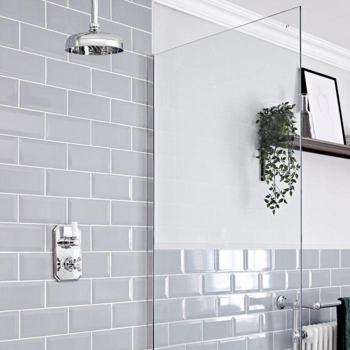Retro Unterputz Duschsystem mit Thermostat und 155mm Deckenmontage-Duschkopf, Chrom/Weiß - Elizabeth