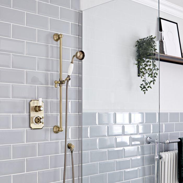Retro Unterputz Duschsystem mit Thermostat und Brausestangenset, antikes Gold - Elizabeth