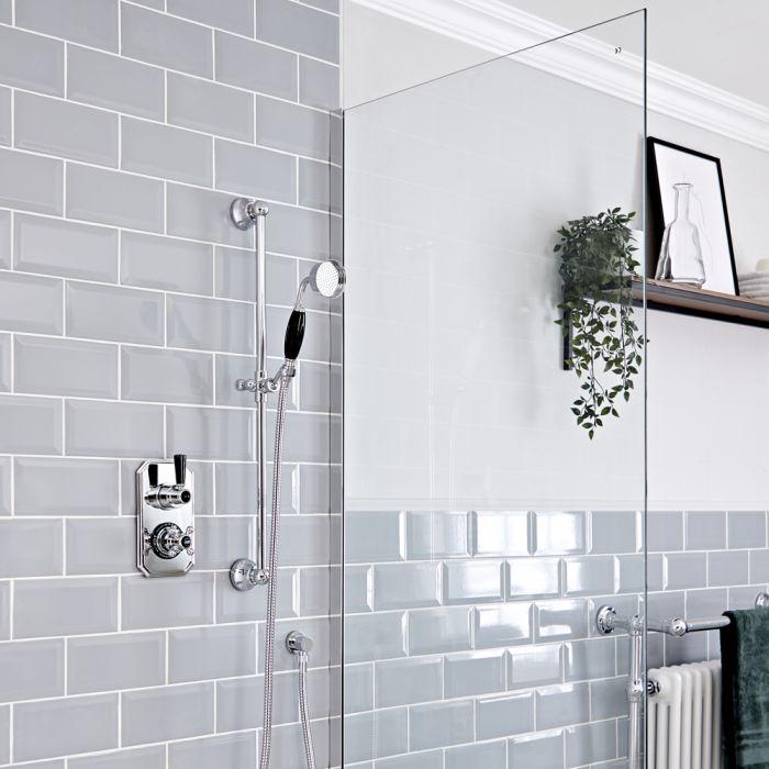 Retro Unterputz Duschsystem mit Thermostat und Brausestangenset, Chrom/Schwarz - Elizabeth