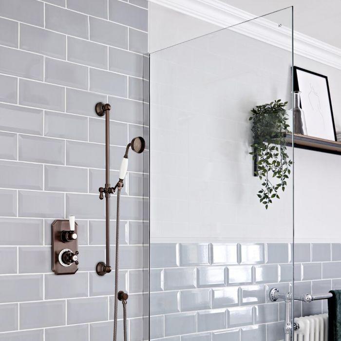 Retro Unterputz Duschsystem mit Thermostat und Brausestangenset, geölte Bronze - Elizabeth