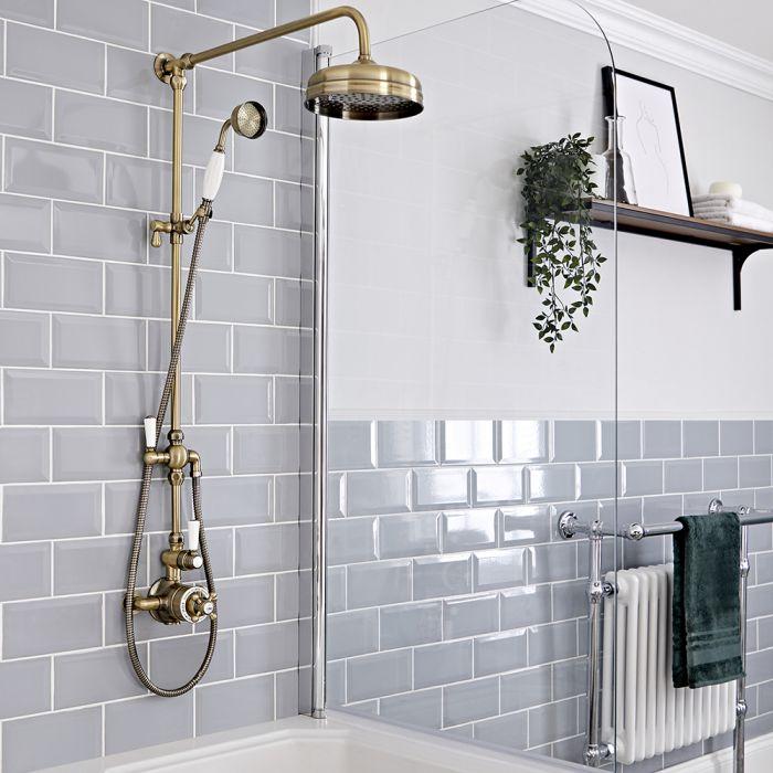 Duschsäule mit Aufputz-Thermostat - inkl. 194mm rundem Duschkopf und Handbrauseset - Gebürstetes Gold – Elizabeth