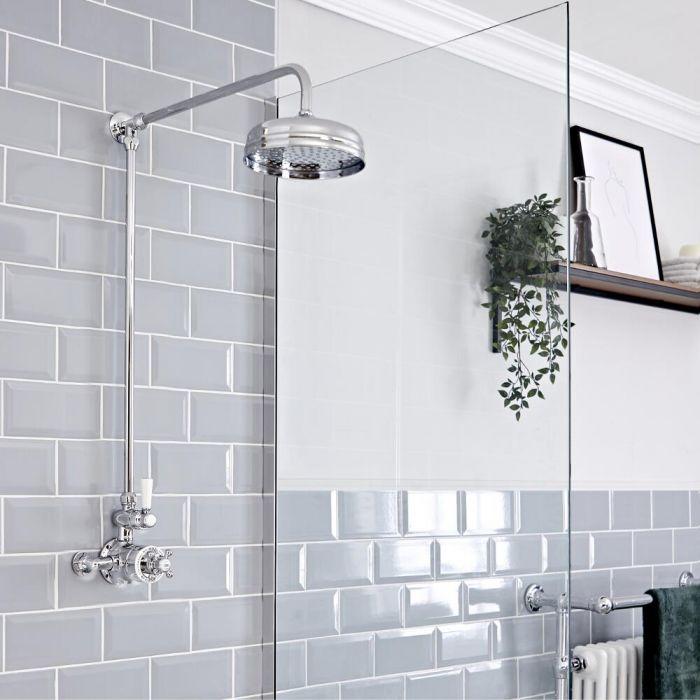 Traditionelle Duschsäule mit rundem Duschkopf und Aufputz Thermostatarmatur, Chrom/Weiß - Elizabeth