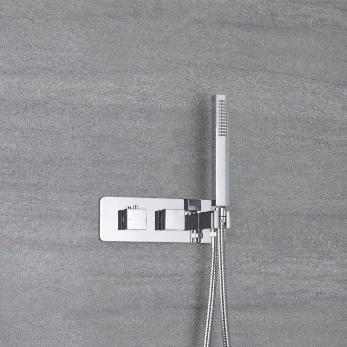 2-Wege Duscharmatur Unterputz mit Handbrause und extra Auslauf Eckig - Kubix