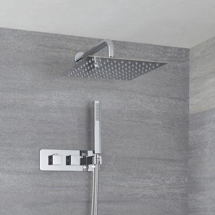 2-Wege Duscharmatur Unterputz Eckig mit Handbrause & 300mm Duschkopf Wandmontage - Kubix