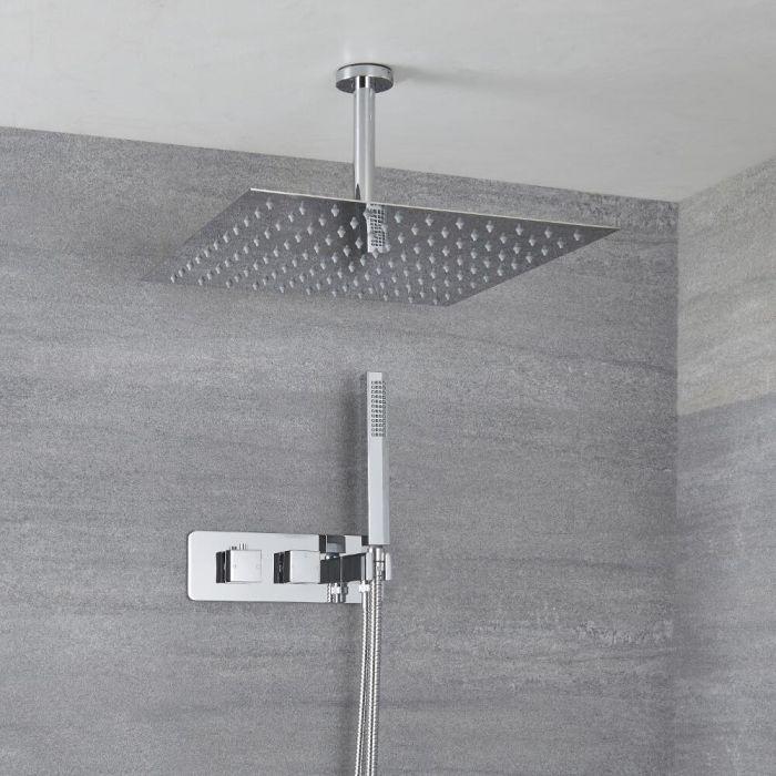 2-Wege Duscharmatur Unterputz Eckig mit Handbrause & 400x400mm Duschkopf Deckenmontage - Kubix