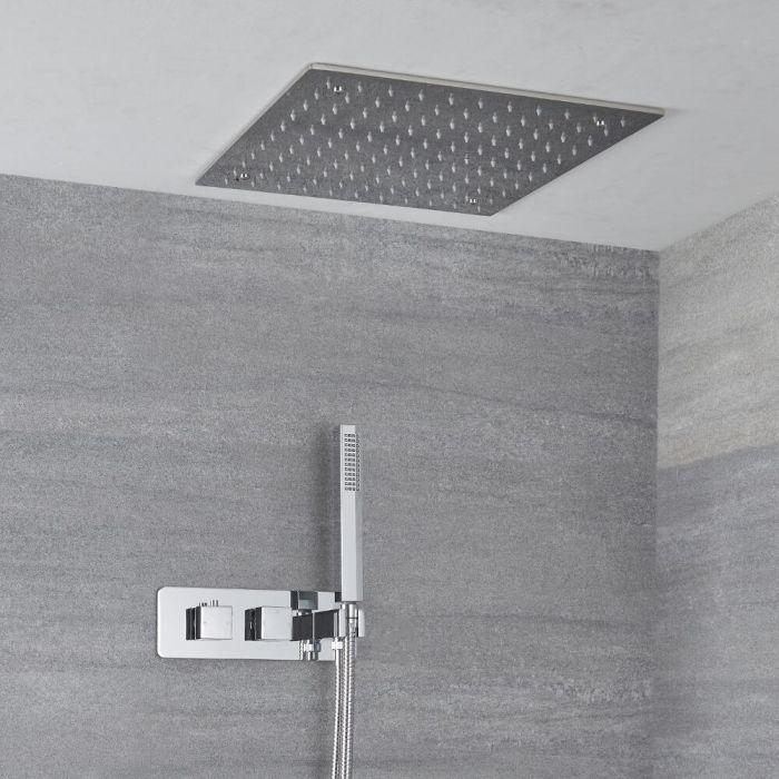 Unterputz-Duschsystem mit Thermostat – mit 400mm x 400mm Duschkopf und Handbrauseset - Chrom - Kubix