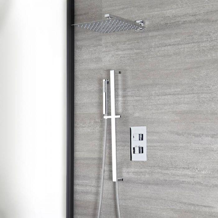 Eckiges Dusch-Thermostat mit Umsteller, 300x300mm Duschkopf und Brausestangenset, Chrom - Kubix