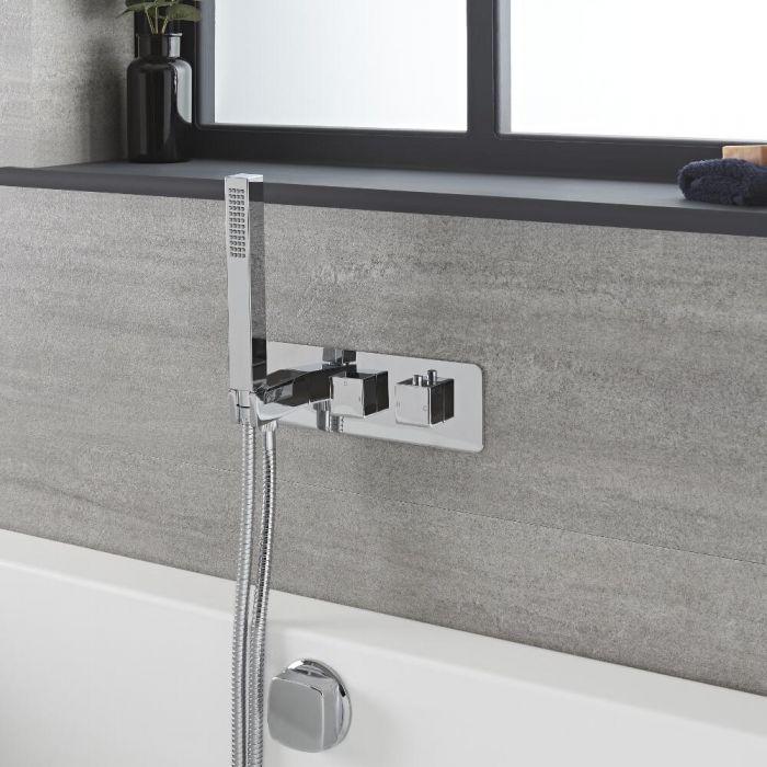 2-Wege Thermostat-Armatur mit Umsteller, Wannenfüll-Überlaufgarnitur und Handbrause, Chrom – Kubix