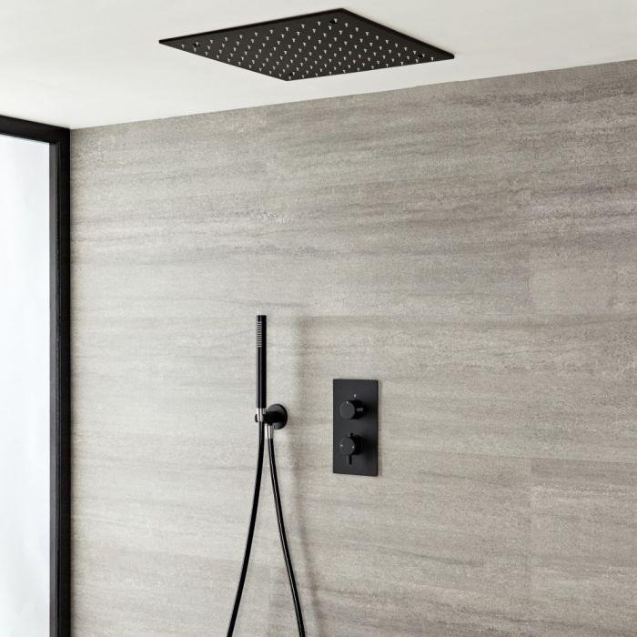 Nox 400x400mm Unterputz Duschkopf & Handbrause mit 2-Wege Thermostatarmatur - Schwarz