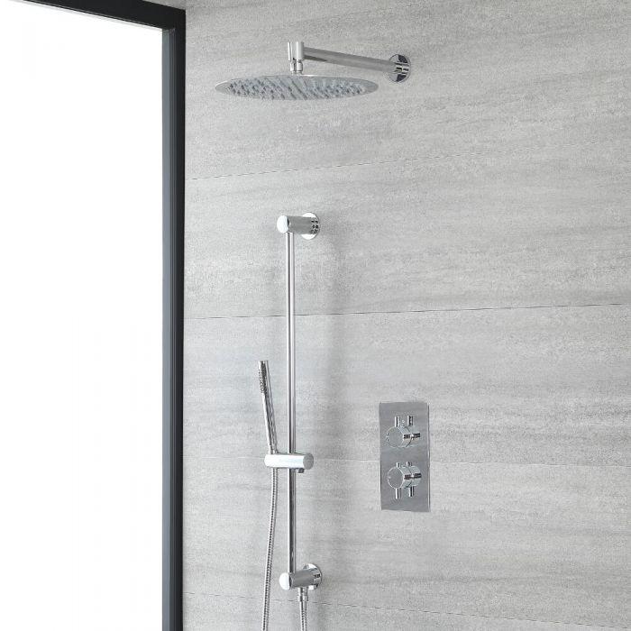 Rundes Dusch-Thermostat mit Umleiter, 300mm Duschkopf und Brausestangenset, Chrom- Como