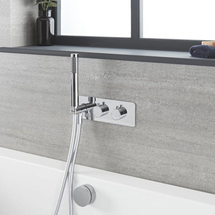 2-Wege Thermostat-Armatur mit Umsteller, Wannenfüll-Überlaufgarnitur und Handbrause, Chrom – Como