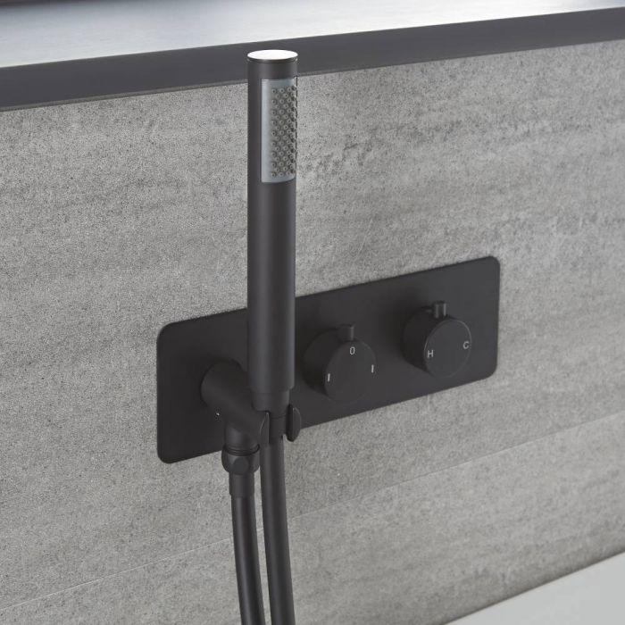 2-Wege Thermostat-Armatur mit Umsteller, Wannenfüll-Überlaufgarnitur und Handbrause, Schwarz – Nox