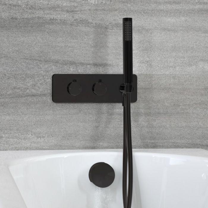 Dusch- und Badesystem mit Thermostat - mit Überlauf-Wanneneinlauf und Handbrauseset - Schwarz – Nox