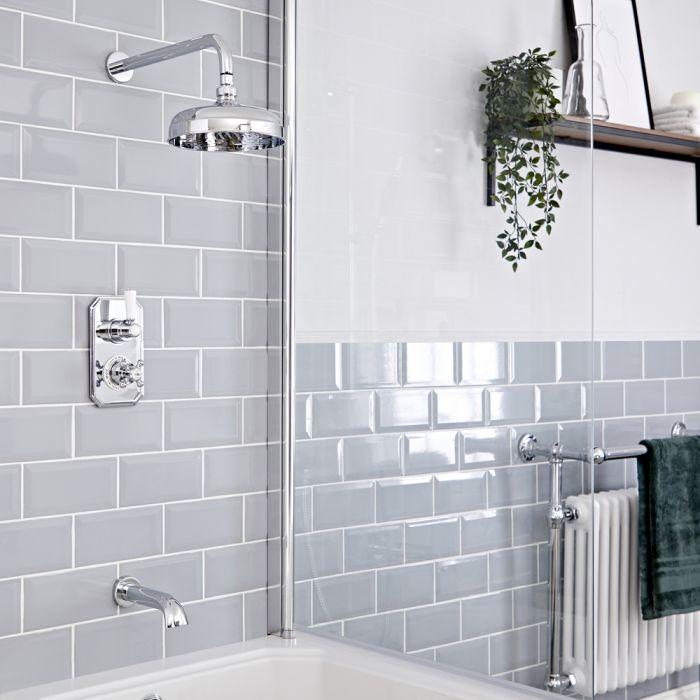 Retro Unterputz Duschsystem mit Wanneneinlauf, Thermostat und Wand-Duschkopf, Chrom/Weiß - Elizabeth