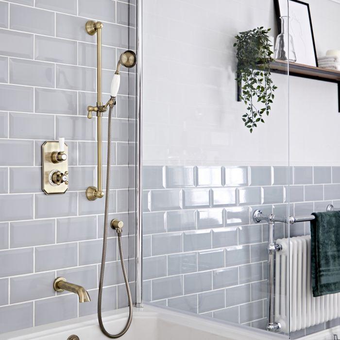 Traditionelles Dusch-Thermostat mit Umleiter, Brausestangenset und Wanneneinlauf, antikes Gold - Elizabeth