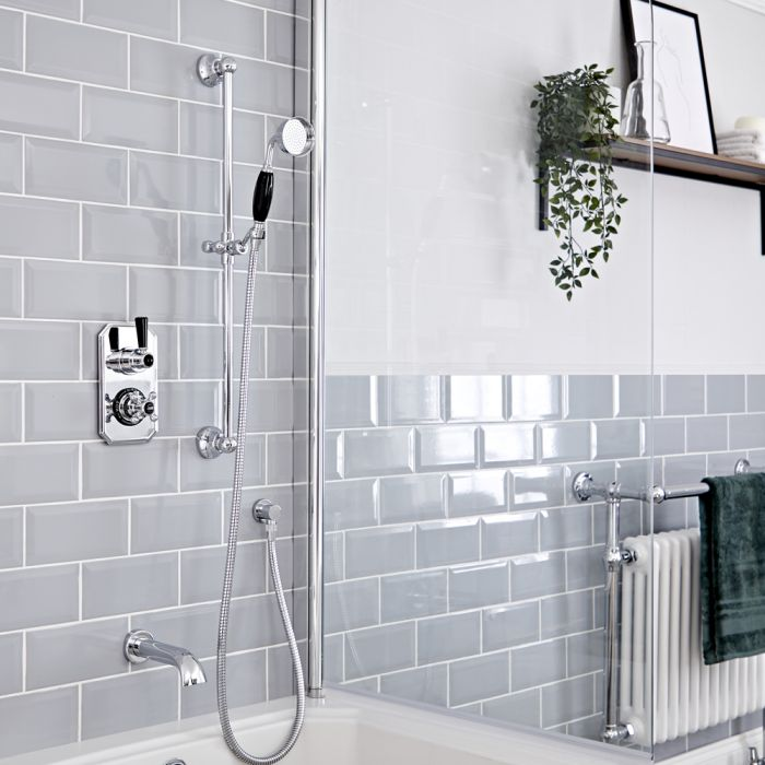 Traditionelles Dusch-Thermostat mit Umleiter, Brausestangenset und Wanneneinlauf, Chrom/Schwarz - Elizabeth