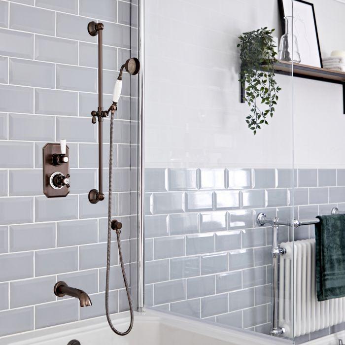Traditionelles Dusch-Thermostat mit Umleiter, Brausestangenset und Wanneneinlauf, geölte Bronze - Elizabeth