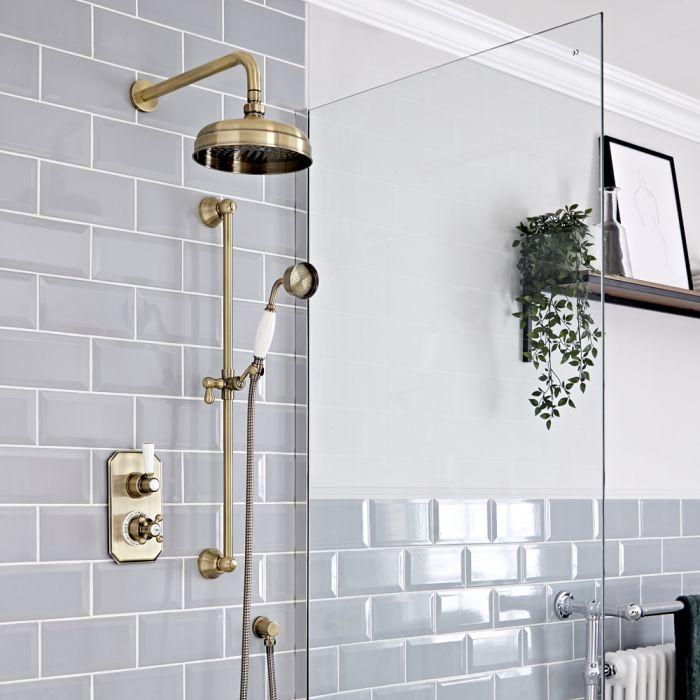 Retro Unterputz-Duschsystem mit Thermostat und Umsteller - inkl. 200mm Wand-Duschkopf und Brausestangenset – Gebürstetes Gold – Elizabeth
