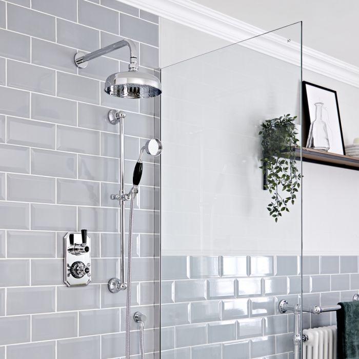 Retro UP Funktionswechsler-Thermostat mit Wand-Duschkopf und Brausegarnitur, Chrom/Schwarz - Elizabeth