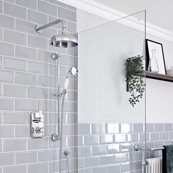 Retro UP Funktionswechsler-Thermostat mit Wand-Duschkopf und Brausegarnitur, Chrom/Weiß - Elizabeth