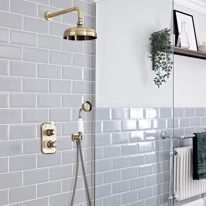 Retro UP Duschsystem mit Funktionswechsler-Thermostat, Handbrause und Duschkopf, Antikes Gold - Elizabeth