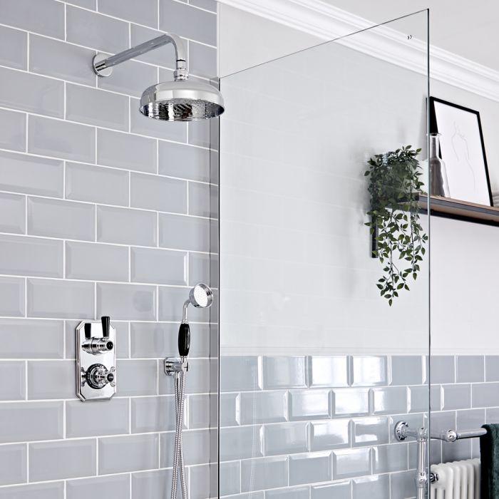 Retro UP Duschsystem mit Funktionswechsler-Thermostat, Handbrause und Duschkopf, Chrom/Schwarz - Elizabeth