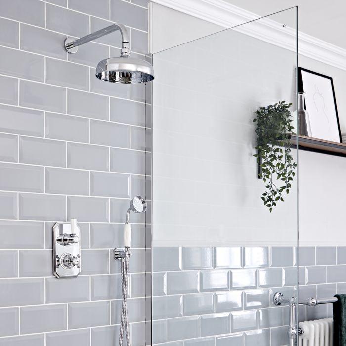 Retro Unterputz-Duschsystem mit Thermostat - inkl. 200mm Wand-Duschkopf und Handbrauseset  - Chrom/Weiß - Elizabeth