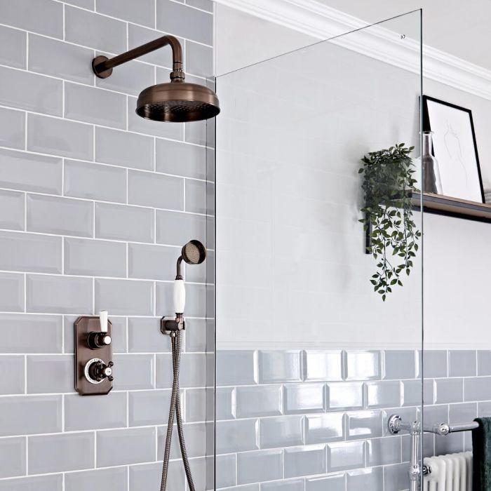Retro Duschsystem mit Unterputz-Thermostat - Wand-Duschkopf und Handbrauseset – geölte Bronze – Elizabeth