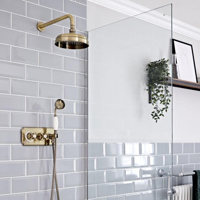 Retro Unterputz Duschsystem mit Wand-Kopfbrause und Handbrause-Thermostat, antikes Gold - Elizabeth