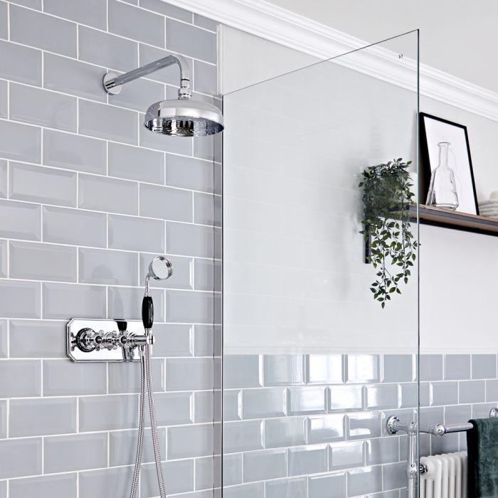 Retro Unterputz-Duschsystem mit Thermostat - inkl. Handbrauseset und 200mm Wand-Duschkopf - Chrom/Schwarz - Elizabeth