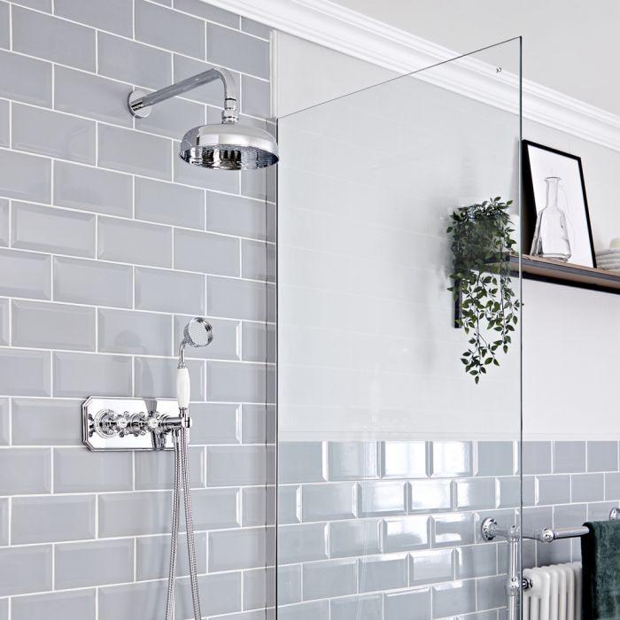 Retro Unterputz Duschsystem mit Wand-Kopfbrause und Handbrause-Thermostat, Chrom/Weiß - Elizabeth