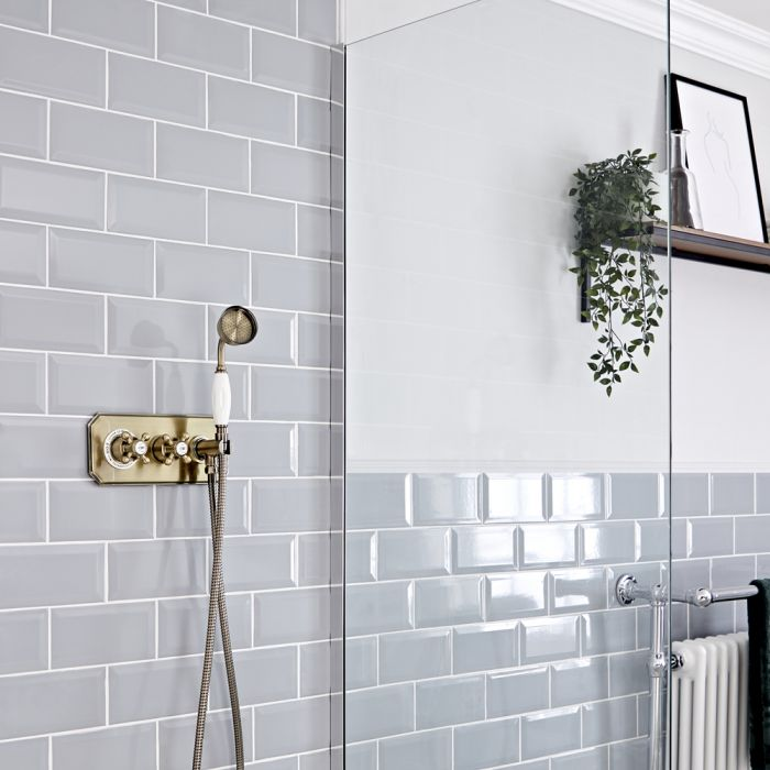 Traditionelles Dusch-Thermostat mit Handbrause, antikes Gold - Elizabeth