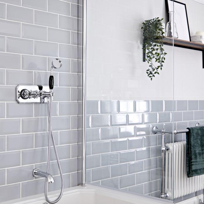 Traditionelles Thermostat mit Handbrause und Wanneneinlauf, Chrom/Schwarz - Elizabeth