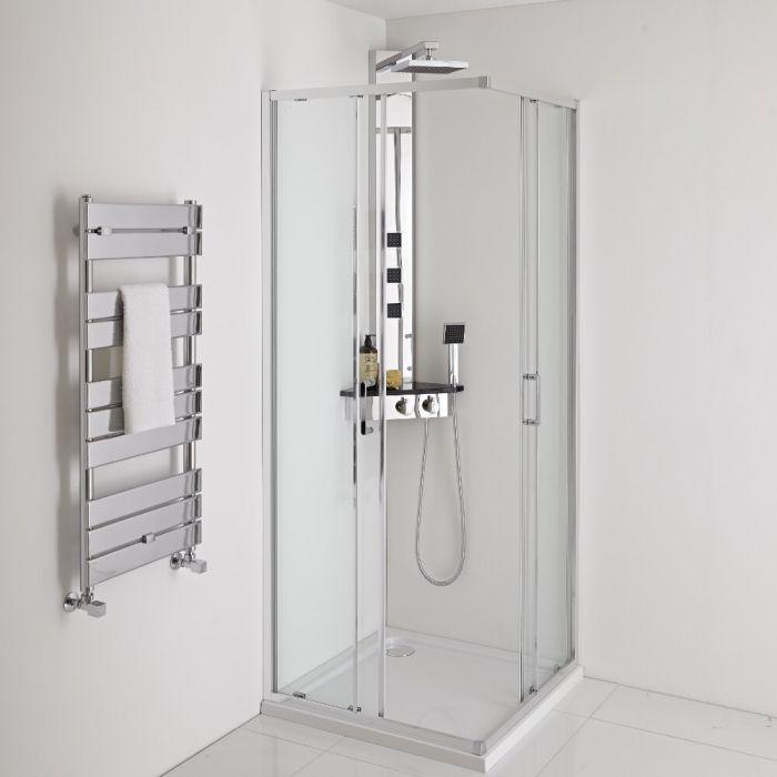 Duschpaneel mit Regal und Thermostat, Eckmontage – mit Duschkopf, Handbrauseset und Körperdüsen – Chrom/Schwarz - Earby